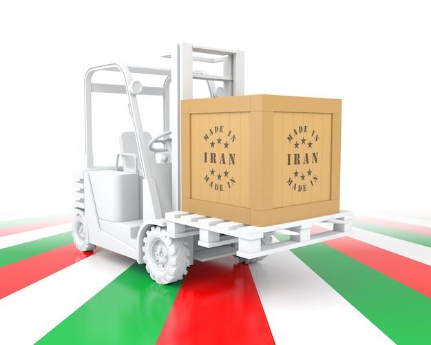 이란 국기 색상으로 지게차입니다. 이란에서 만든. 3d 렌더링