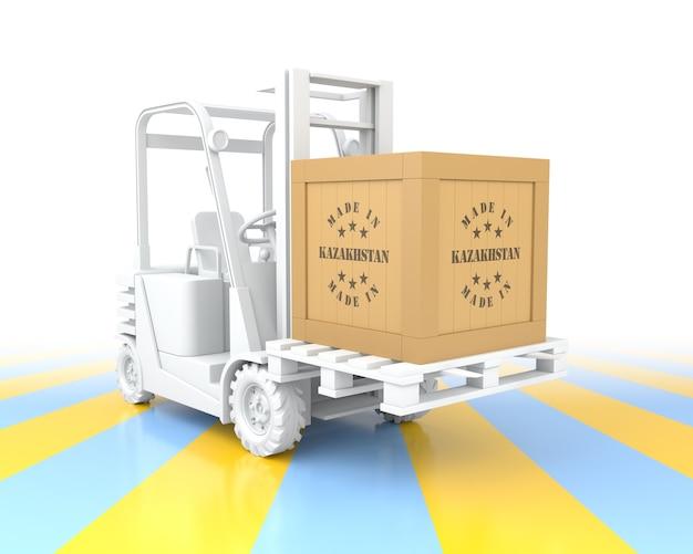 팔레트에 카자흐스탄 나무 상자에서 만든 지게차. 3d 렌더링