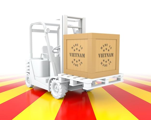 Forklift truck with vietnam flag color. made in vietnam. 3d rendering