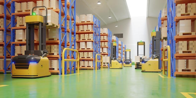Forklift trucks in warehouse