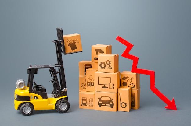상자와 빨간색 화살표가있는 지게차. 상품의 성능 생산 하락.