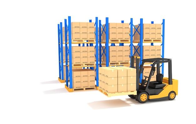 Forklift with pallet rack