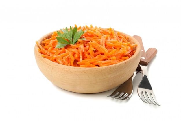 Forks and bowl with carrot salad isolated