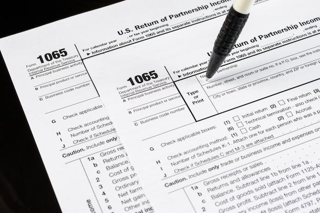 フォーム1065米国のパートナーシップ所得の返還米国の税務フォーム米国の空白の税務フォーム税務時間