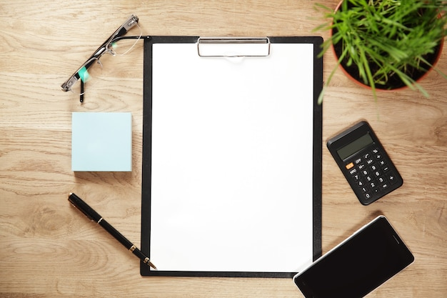 The form for recording and stationery in the workplace businessman