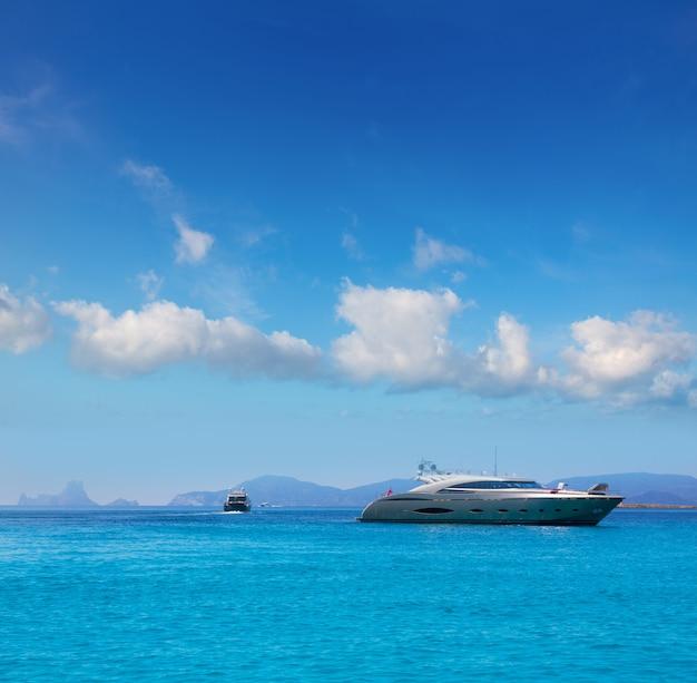 Formentera boats with ibiza es vedra balearic