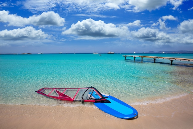 Formentera ibiza ses illetes beach with wind surf