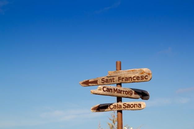 Formentera wood road signs can marroig