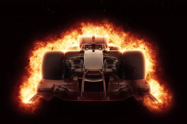 Formula one car burning
