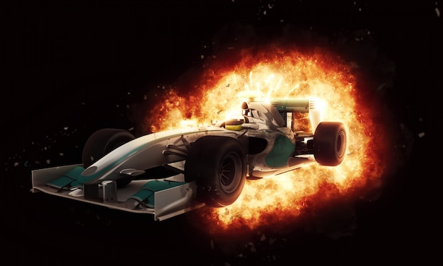 Formula one car with fire