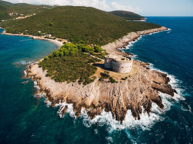 Fort arza in the bay of kotor in montenegro in the adriatic sea on the peninsula of lustica fortress