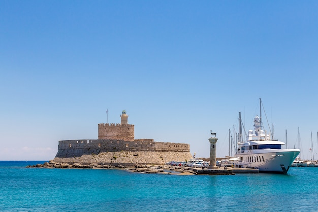 Fort of st. nicholas and mandraki port in rhodes town