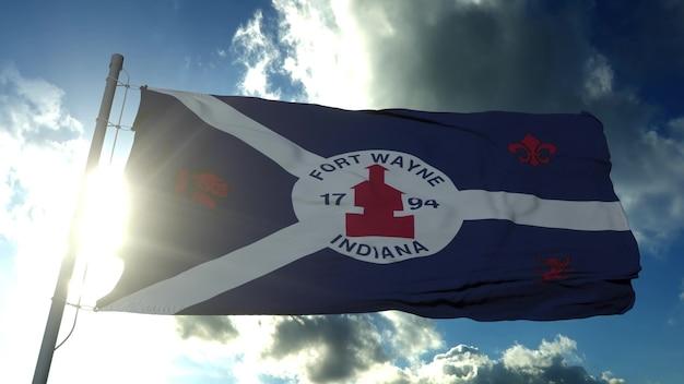 フォートウェイン市の旗、米国またはアメリカ合衆国のインディアナ州の都市、青い空に風に揺れています。 3dレンダリング