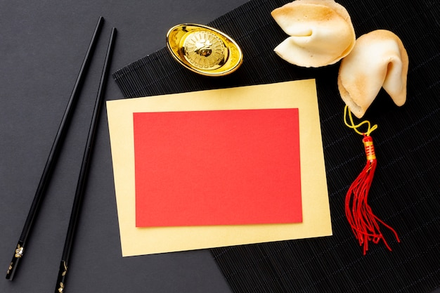 Fortune cookies and card mock-up chinese new year