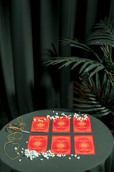 Fortune telling red tarot cards