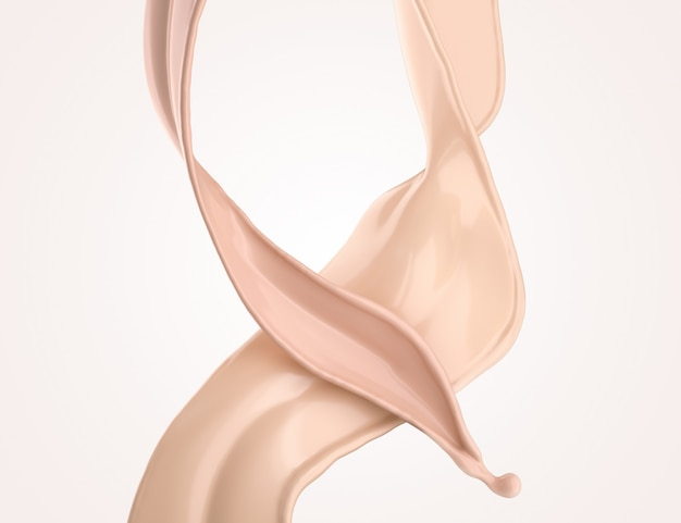 Foundation splash cream for beauty cosmetic product, 3d illustration.