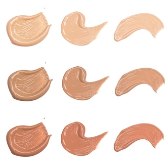 Foundation swatches on white