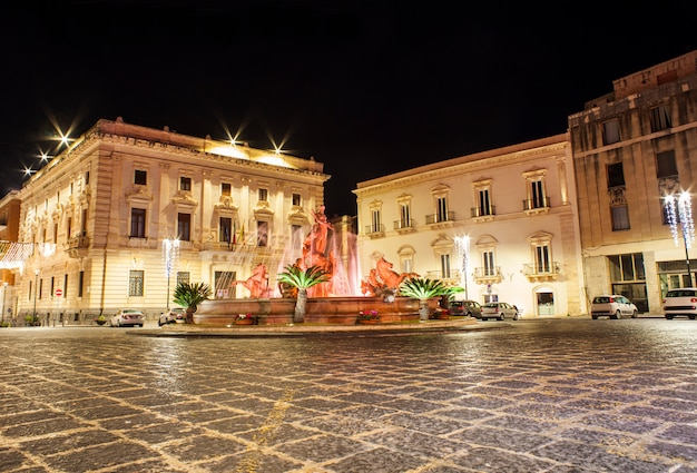 The fountain of artemide in syracuse, sicily, italy