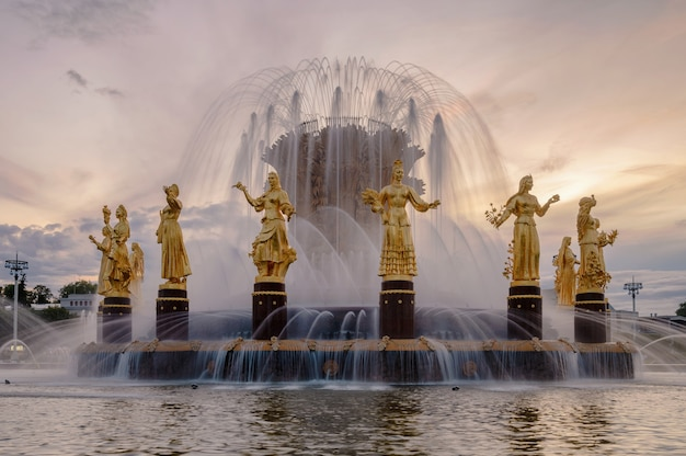 Fountain friendship of peoples at sunset one of the main symbols of the soviet era sixteen female statues of the fountain represent the  soviet republics moscow russia