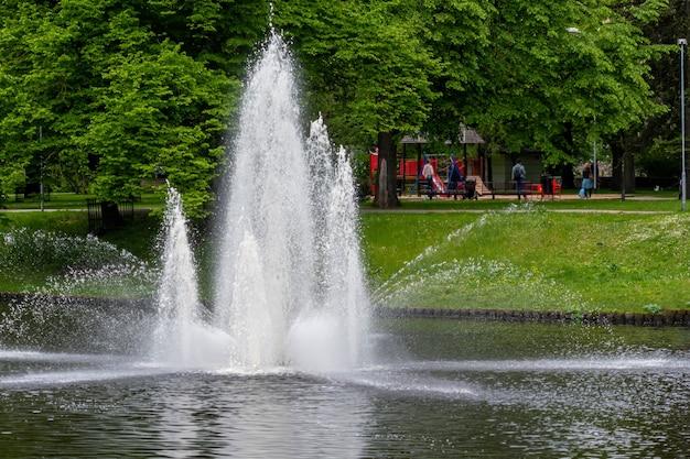 Фонтан в городском парке в солнечный весенний день рига латвия свободное место для текста