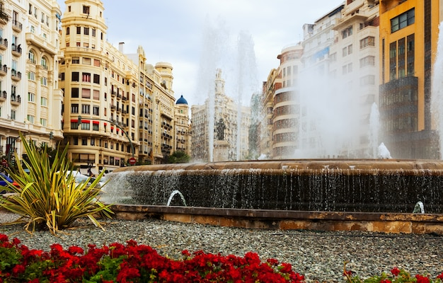 Fountain at placa del ajuntament in valencia
