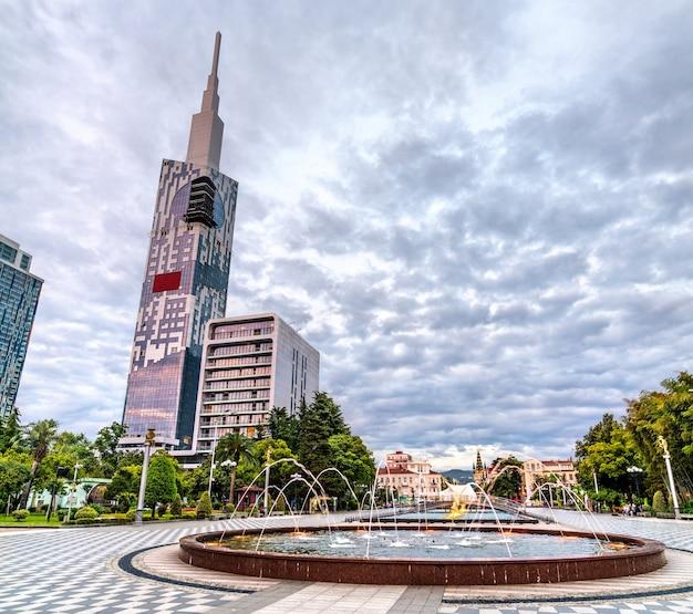Fountain on seaside boulevard in batumi  adjara, georgia