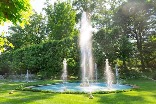 晴れた日に公園の噴水。