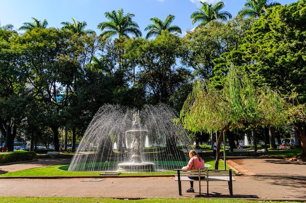 Fountains and lawn at liberty square, belo horizonte, mg, brazil on june 27, 2008.