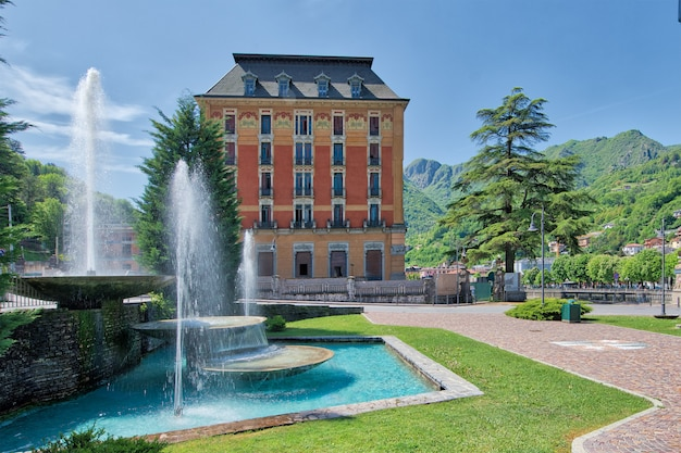 Fountains in san pellegrino terme with the grand hotel