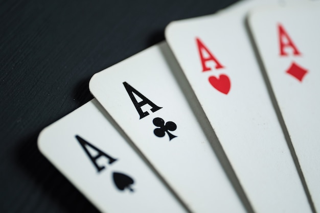 Four aces close-up