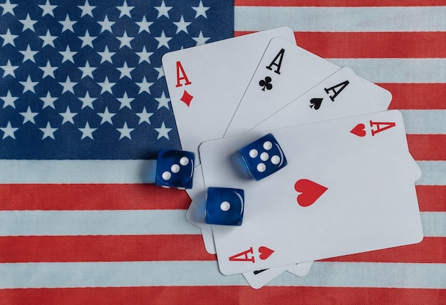 Four aces and dice on the of the usa flag.