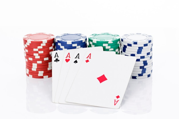 Four aces of a kind and chips