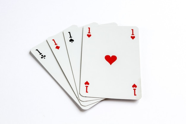 Four aces playing card game isolated on white surface