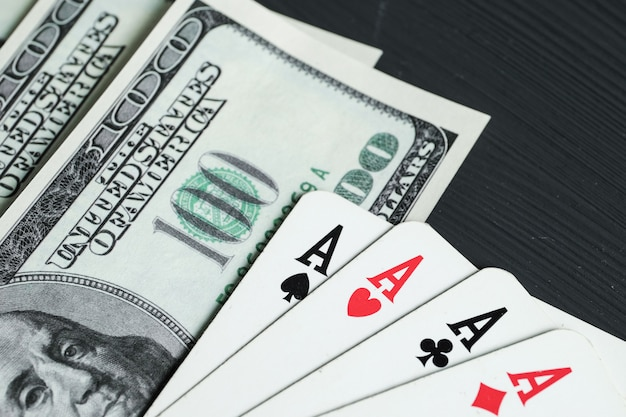 Four aces with american dollars