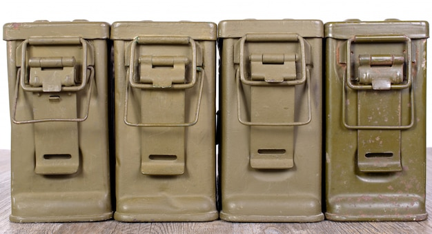 Four ammunition boxes