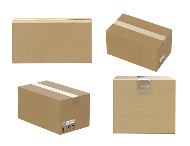 Four angles of carton box isolated on white