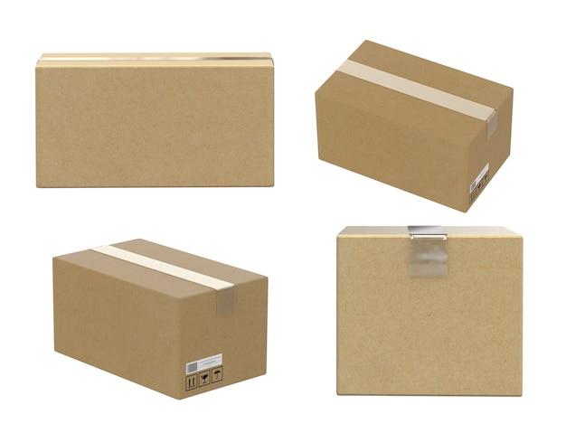 白で隔離されるカートンボックスの4つの角度