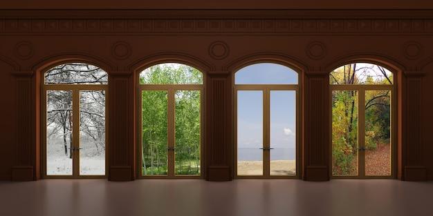 다른 전망을 가진 4 개의 아치형 빈티지 창