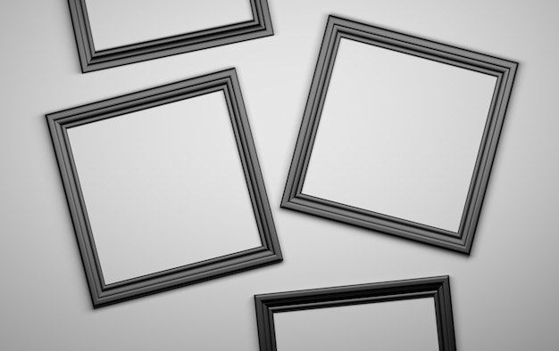 Four black picture photo frames blank. 3d illustration.