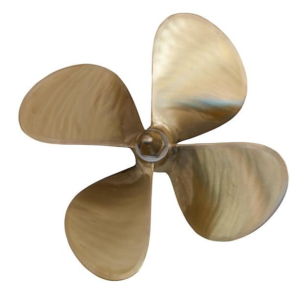 Four-bladed propeller over white