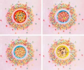 Four bowls of cereals in round frames from corn flakes