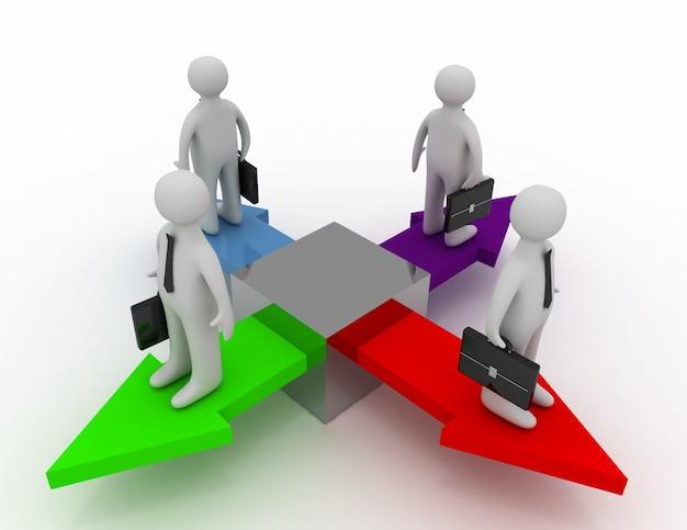 4명의 사업가가 서로 다른 방향을 가리키는 화살표 위에 서 있다