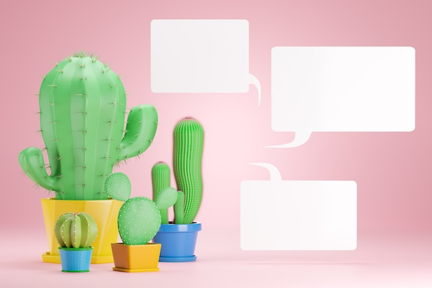 4つのサボテンの植物はピンクに配置されます