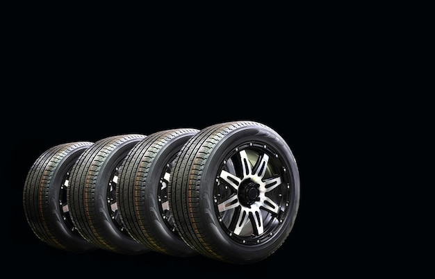 Four car wheel rubber with alloy rim isolated