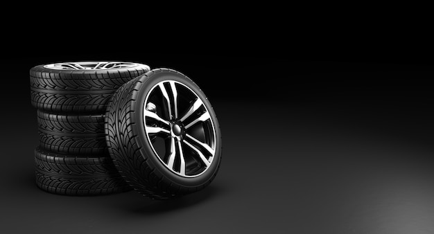 Four car wheels. 3d rendering illustration.