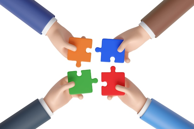 Четыре руки мультфильм, присоединяясь к головоломке, изолированные на белом фоне. концепция рабочей группы.