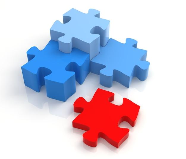 흰색 배경에 4가지 색상 퍼즐 조각 결합 솔루션 개념