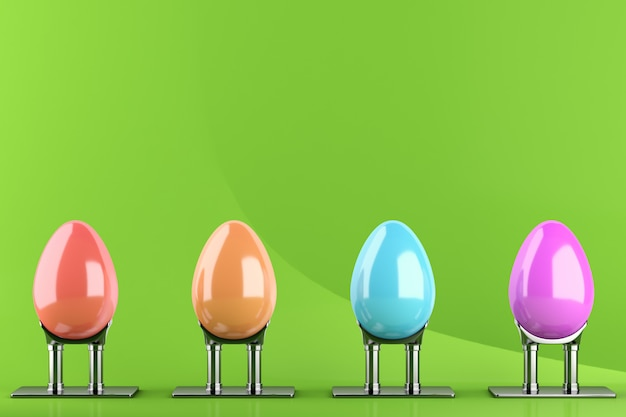 Four colored easter eggs on metal stands