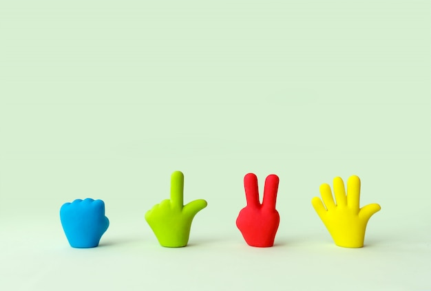 Four colorful cartoon hands set