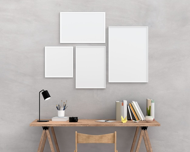 Four empty photo frame for mockup on wall